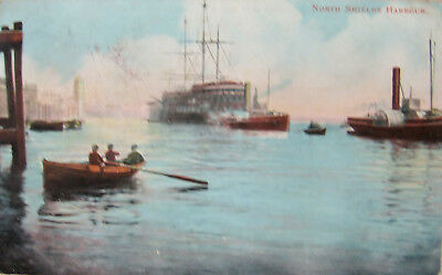 Early Colour Postcard. North Shields Harbour.