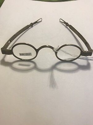 Antique Eyeglasses Temples Fold W/ Loops.   Coin Silver Adams.   54