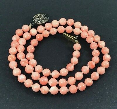 Beautiful Antique Chinese Angel Skin Coral Bead Necklace With Solid Silver Clasp