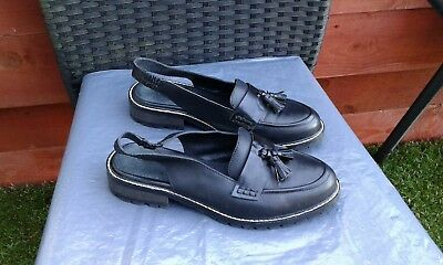 Ladies Black Leather Slip On Slingback Loafers By Office Size 6