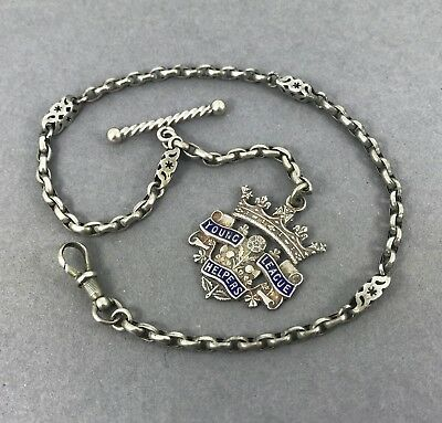 Beautiful Antique Solid Silver Albertina Chain For Ladies + Enamel Medallion