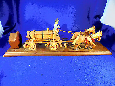 Black Forest Carved Horse Drawn Wagon With Music Box Antique 21 6/8""