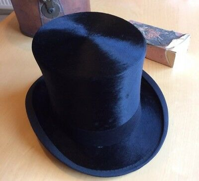 Antique Carswell High Quality 1930 Silk Top Hat Size 6 7/8 Leather Case Brush