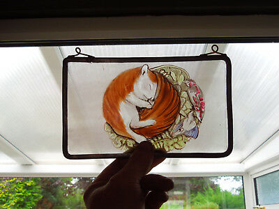 Interesting Stained Glass Sleeping Baby Squirrel Medieval Victorian Decorative