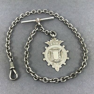 Beautiful Antique Solid Silver Belcher Style Albert Chain = Silver Fob Medallion