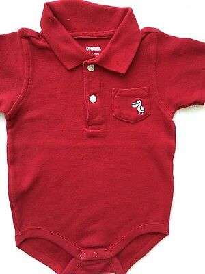 New Gymboree 6-12 Month Baby Boy  Red Polo Bodysuit