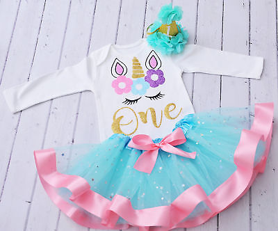 1st Birthday Girl Outfit Turquoise Cake Smash outfit Baby Girls outfit