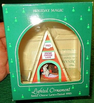 Hallmark Ornament  Lighted  1985 Swiss Cheese Lane  Mouse Inside Cheese Home