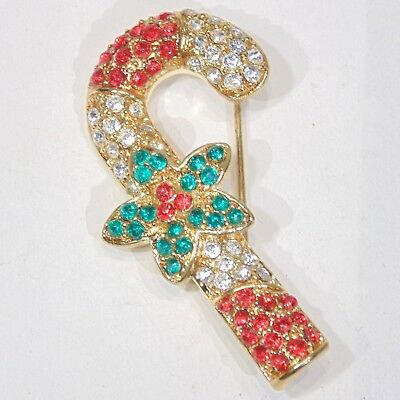Vintage pave red white green rhinestone Candy Cane Christmas Holiday pin brooch