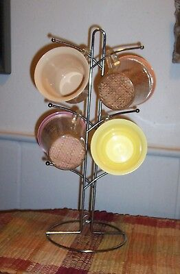 """Vtg MID-CENTURY Modern *ATOMIC* Silver 6 CUP HOLDER Display Rack STAND 16"""""""