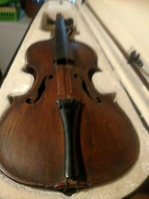 Vtg Old Antique Violin And Case And Bow Germany One Piece Back