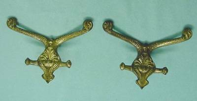 H-6 Antique Hall Tree Hooks. Pair Original Ornate Brass Plating over Cast Iron