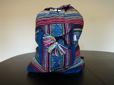 Beach Mexican Hippie Baja Tote Ethnic Backpack Indian Bag, Blanket, purse Blue