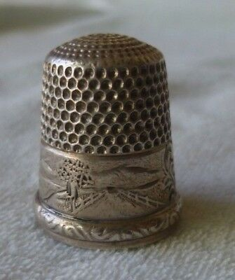 Antique Simons Brothers Sterling Silver Landscape Thimble Size11 Cabin Mountans