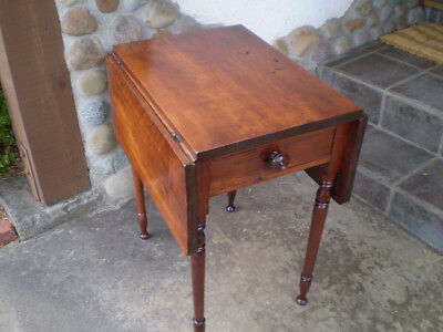 antique cherrywood dropleaf end table