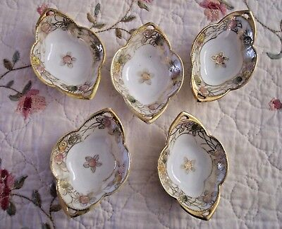 NIPPON CHINA FIVE (5) OPEN SALT CELLARS HAND PAINTED FLOWERS w/ GOLD TRIM c.1911