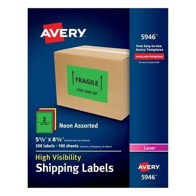 """Avery High-Visibility Shipping Labels, AVE5946, 5 1/2"""" x 8 1/2"""", 200-Pk"""