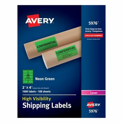 """Avery® High-Visibility Shipping Labels, AVE5976, 2"""" x 4"""", Neon Green, Box Of 100"""