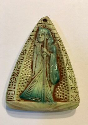 Vintage Art Deco Czech Glass Max Neiger Egyptian Revival Guardian Pendant
