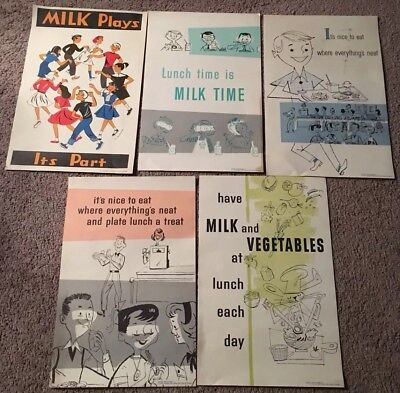 """Lot of 5 different """"School Lunch Posters""""; 1956-57; 12 1/2"""" x 18 1/2"""