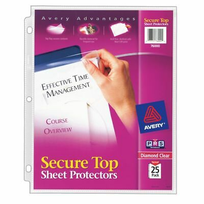 Avery Secure-Top Sheet Protectors, Super Heavyweight, Diamond Clear, Pack Of 25
