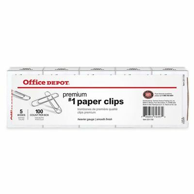 Office Depot Brand No. 1 Paper Clips, Silver, 100 Clips Per Box, Pack Of 5 Boxes