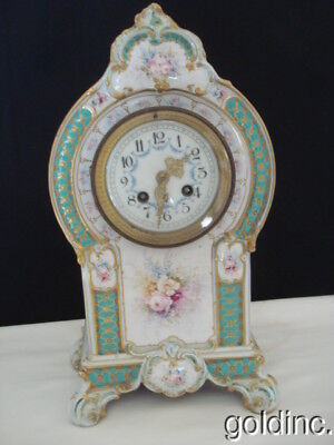 Nice 19th.C French Hand Painted China Shelve/Mantel Clock