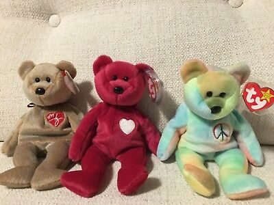 3 Ty Beanie Babies Baby 1996 Peace Valentina 1999 Signature Errors Pe Pellets