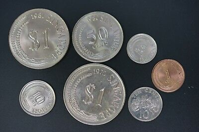 Singapore lot of 7 UNC copper nickel coins (v135)