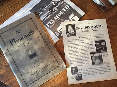 1930 PLYMOUTH OWNER'S MANUAL INSTRUCTION BOOK - 79 pages 1930 U ?