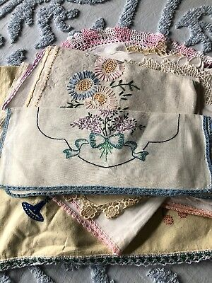 Lot of 17 Vintage Hand Embroidered and Hand Crocheted Linens Dresser Scarves