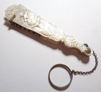 CHATELAINE- HAND-HELD FAN, MOTHER OF PEARL, w/CHAIN & LOOP. DANCE CARD WRITING?