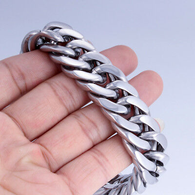 12mm Silver Chain Bracelet for Mens Curb Link Cuban Rombo 316L Stainless Steel