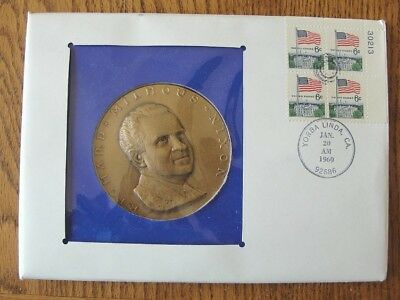 Vintage President Richard Nixon Large Medallion Day Cover Inauguration Day 1969