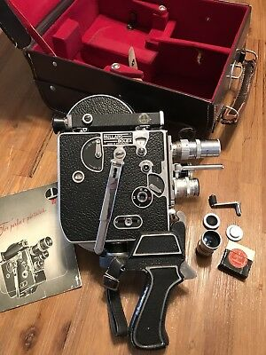 Vintage Paillard Bolex 16mm Movie Camera With 4 Lenses, Case, Work Great