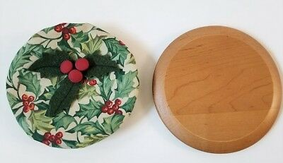 Longaberger 2003 Melody WoodCrafts Lid & American Holly Fabric Cover