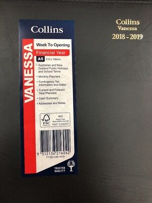 2018 2019 Collins Vanessa Financial Year A5 Week to View Opening WTV Diary BLACK