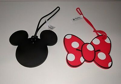 Disney Parks Mickey & Minnie Mouse Luggage Bag Tag His & Hers NEW