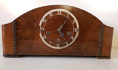 Antique Working Enfield England Art Deco Westminster Chime Mantel Shelf Clock