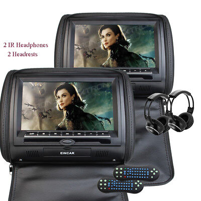 """2X 9"""" Touch Screen Car Headrest DVD Player Game Disc USB SD Slot +Headsets"""