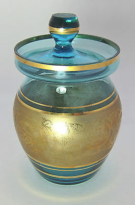Vintage Clear Blue Glass Mustard Condiment Jar Gold Roses on Trim Gold Rim  5 in