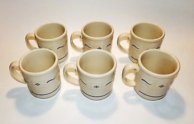 Six Nib Longaberger Woven Traditions Classic Blue Tea Coffee Cup Mugs 30708