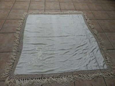 Antique Off  White Sillk Hand Embroidery Peony Design Piano Shawl With Fringe