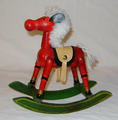 Vintage Folk Art Wooden Red Rocking Horse With Yarn Mane And Tail