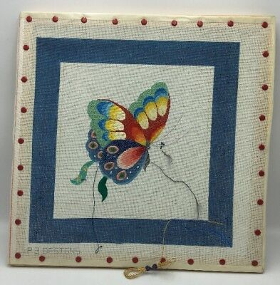 "P3 Designs Hand Painted Needlepoint Canvas Butterfly Partially Worked 13""  x 13"""