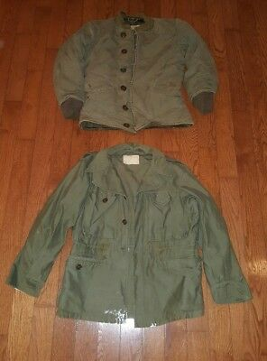 (LOT OF 2) Vintage Army Military Field Jacket & Insulated Coat M-1943 sz 34S 34R