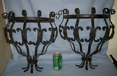Lot 2 VTG Antique LARGE WROUGHT IRON/Metal WALL SHELF Ornate/Architectural!