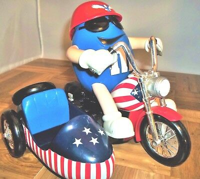 M&M Red White & Blue Freedom  Rider Blue M&M Motorcycle Candy Dispenser NICE