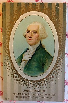"Vintage 1912 Gold Embossed Postcard President George Washington ""First in Peace"""