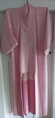 Lovely Pale Pink Striped Patterned Vintage Japanese Full Length Silk Kimono